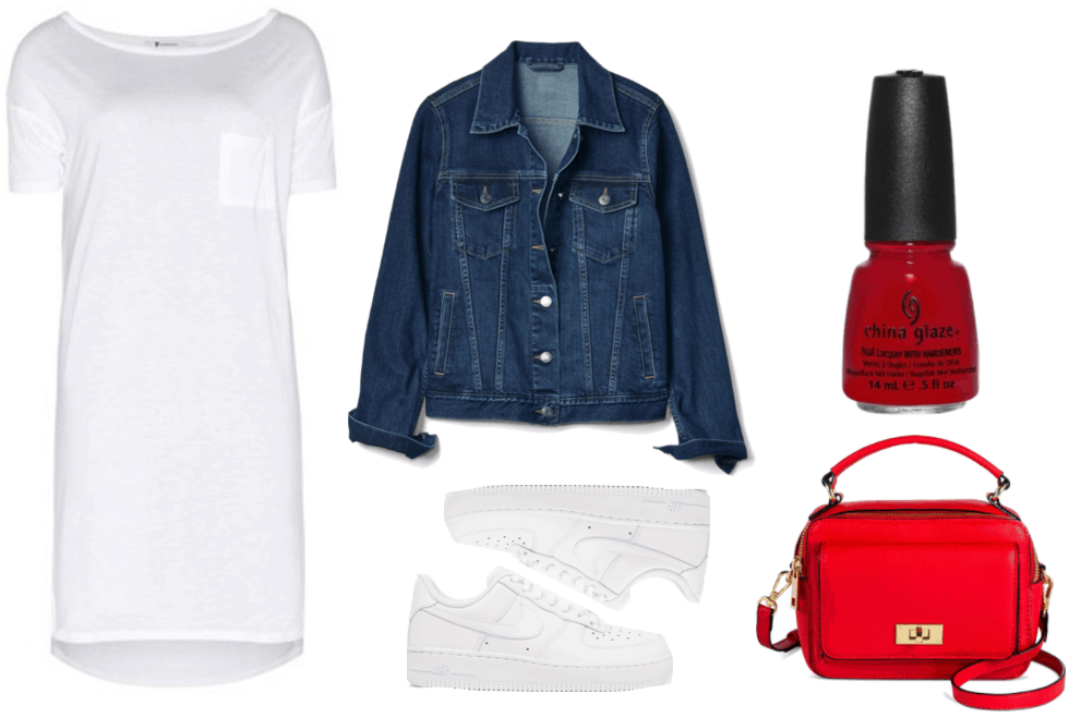 """Fashion Inspired by Music Videos: """"There's Nothing Holdin' Me Back,"""" by Shawn Mendes--Outfit #2 featuring white short-sleeved t-shirt dress with pocket on left side of chest, dark-wash denim jacket, white Nike Air Force I sneakers, China Glaze nail lacquer in """"Red Satin,"""" a slightly-blue-red, bright red mini bag with top handle, shoulder strap, and gold twist-lock pocket at front"""