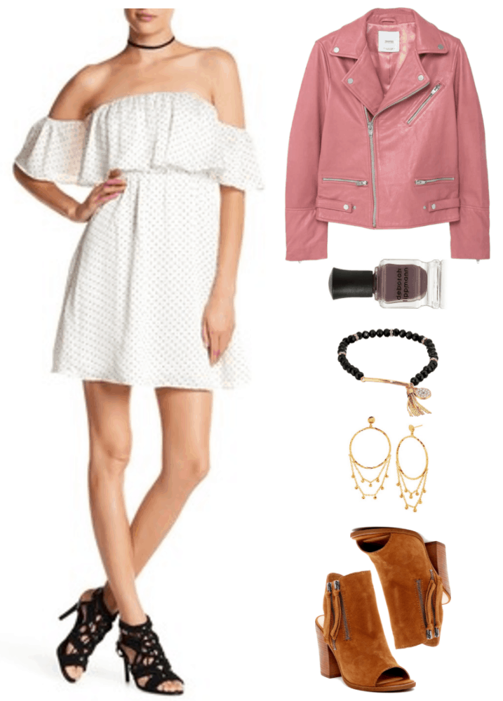 """Fashion Inspired by Music Videos: """"There's Nothing Holdin' Me Back,"""" by Shawn Mendes--Outfit #3 featuring white off-the-shoulder dress with tiny black polka dots and elastic waist, medium-pink motorcycle jacket, Deborah Lippmann Nail Polish in """"Love in the Dunes,"""" a warm mauvish-gray; black beaded bracelet with gold bead accents with clear stones, gold bar bead, and gold tassel charm and gold circle charm with clear stones; hammered gold drop hoop earrings with chain accents with gold beads, cognac-brown sling-back peep-toe ankle boots with double-zipper accent and chunky wooden heel"""