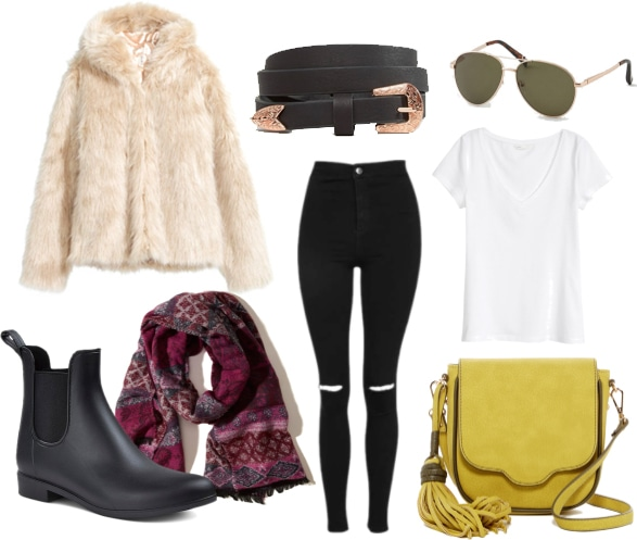 Outfit inspired by Shay Mitchell: Black leather belt with rose gold buckle, ripped black jeans, white tee, faux fur coat, yellow cross-body bag, printed scarf