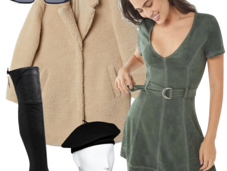 Shay Mitchell Outfit: fuzzy beige pile coat, green faux suede belted mini dress, black slim rectangular sunglasses, black faux leather over the knee boots, and a black beret hat