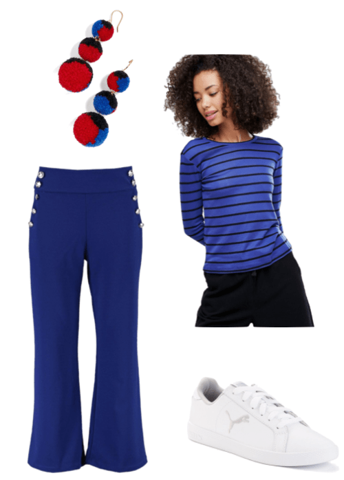 Outfit inspired by Shay from Broken Age video game: red, blue and black pom pom earrings, blue military button trousers, blue and black striped top and white sneakers