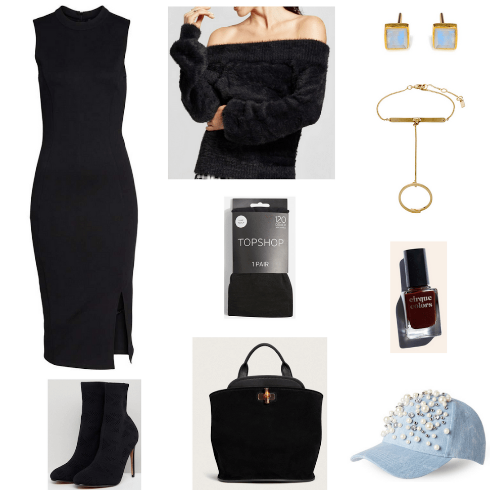"""Black sleeveless mock-neck sheath dress with side slit, black leather and suede backpack with bamboo button closure, black off-the-shoulder zip-front sweatshirt, black opaque tights, black knitted sock boots with stiletto heel, gold square stud earrings with faceted pale blue rainbow moonstones, gold hand chain bracelet/adjustable ring with Czech crystal, Cirque Colors nail polish in """"Empire State of Mind,"""" an oxblood red shade; light-wash denim baseball cap with faux-pearl, clear stone, and silver ball embellishments"""