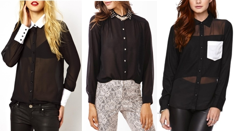 Sheer black oxford shirts