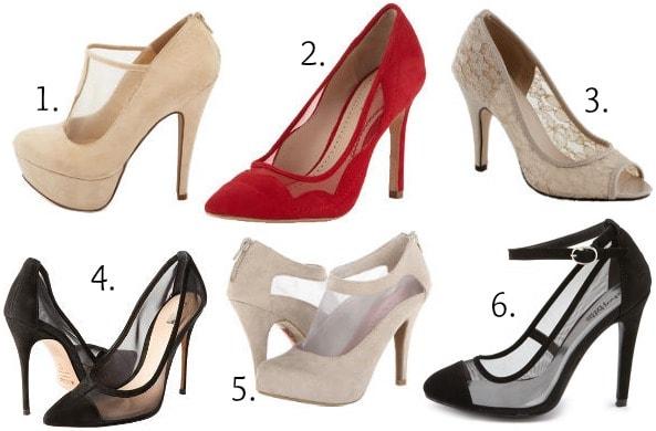 Sheer blocked heels