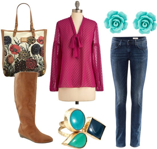 How to wear a magenta sheer blouse during the day with skinny jeans, riding boots, a floral bag, and turquoise jewelry