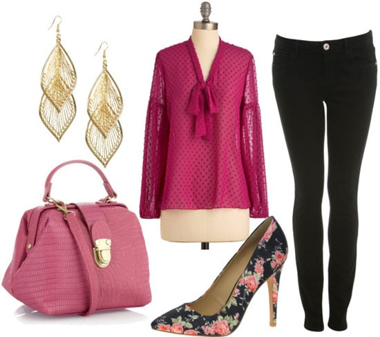 How to wear a magenta sheer blouse at night with skinny jeans, floral heels, earrings, and a statement bag