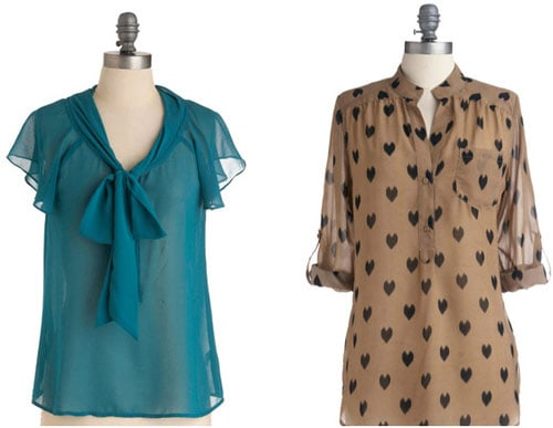 Blue and heart print sheer blouses