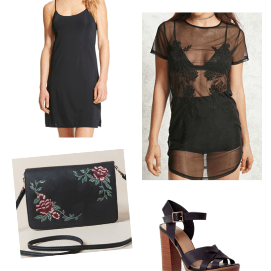 How to wear spring 2018 trends now: Sheer dress outfit with black slip dress, sheer overlay, rose embellished purse, chunky heeled platform sandals