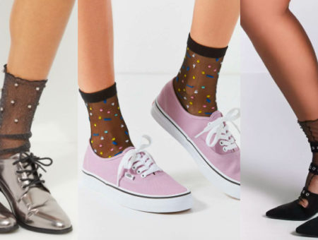 Sheer socks trend (from left to right): black studded sheer socks from Rue 21, black socks with colorful polka dots from Urban Outfitters, and sheer black panelled socks from Forever 21.