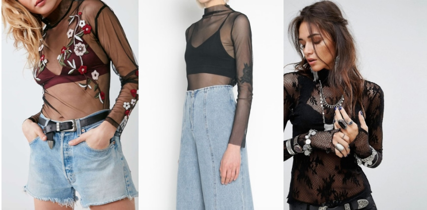 An embroidered sheer bodysuit layered over a burgundy bralette from Urban Outfitters on the left, a high-fashion mesh blouse from Oak & Fort in the center, and a lace Free People sheer bodysuit from ASOS on the right.
