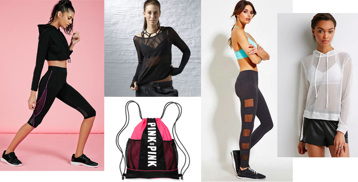 Mesh accented athletic wear