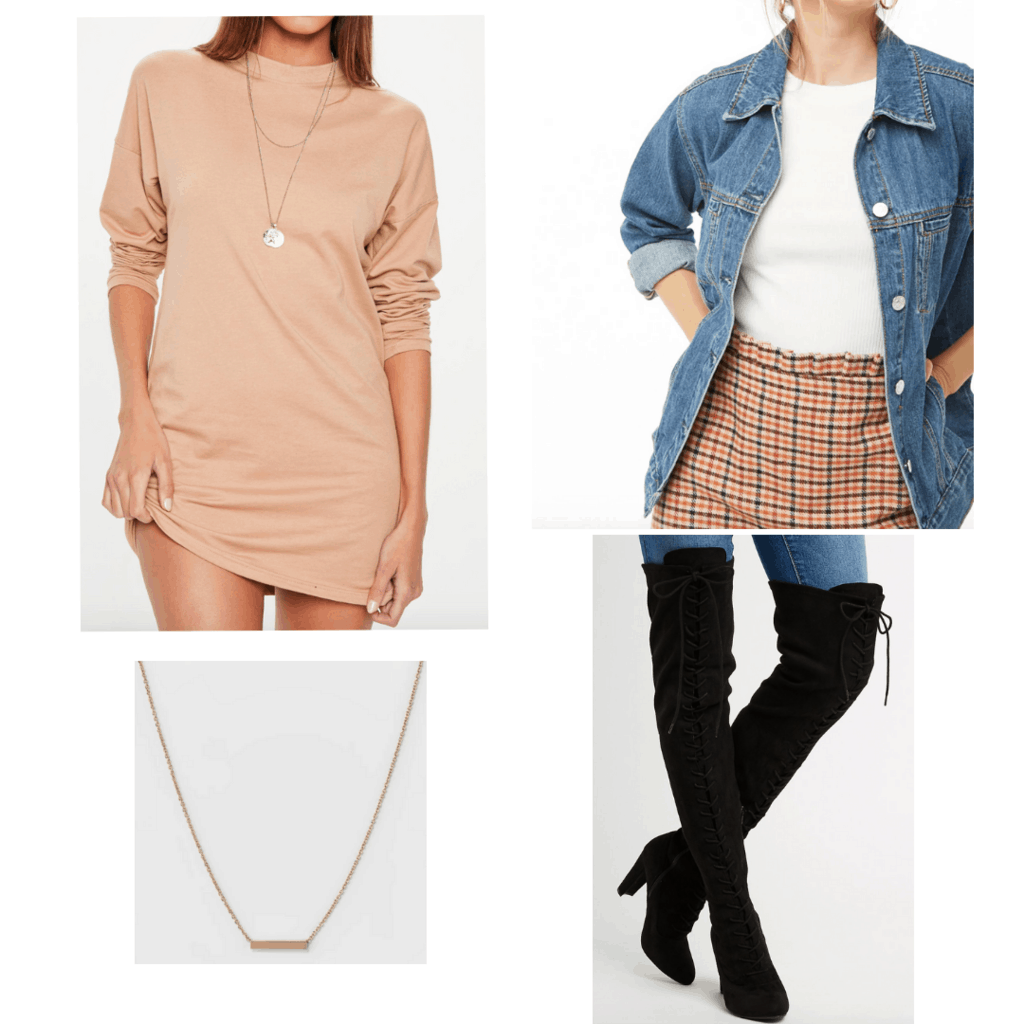 Peach t-shirt dress with long sleeves, denim jacket, black thigh high boots, and simple gold chain necklace