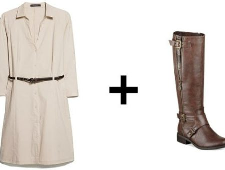 Shirtdress and riding boots