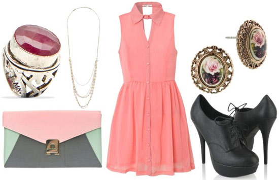 how to wear a pink shirt dress for night with black oxford heels cameo earrings colorblock pastel clutch pearl necklace and oversized cocktail ring