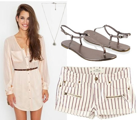 Shirtdress outfit 3 - Button-down shirtdress tunic, striped shorts, metallic sandals, necklace