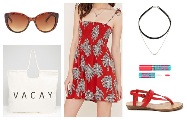 Short red palm print dress summer outfit