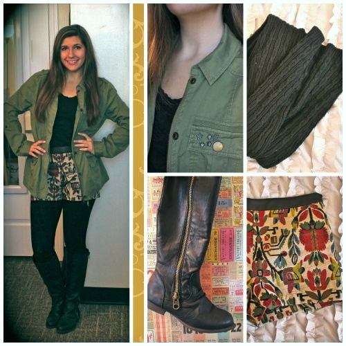 Shorts, army jacket, tights, and boots outfit