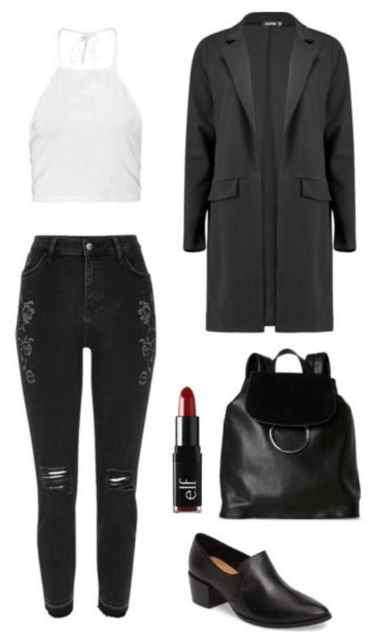 Outfit idea: Black boyfriend blazer, black jeans, crop top.