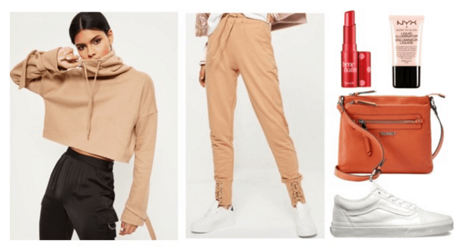 Nude sweatshirt and sweatpants outfit.