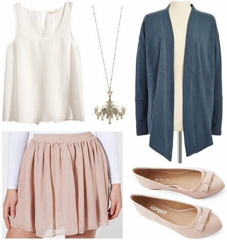 Sia Chandelier outfit with tan skirt, white blouse, cardigan