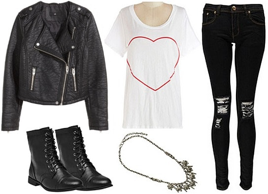 Sia Elastic Heart outfit with moto jacket, heart graphic tee, combat boots