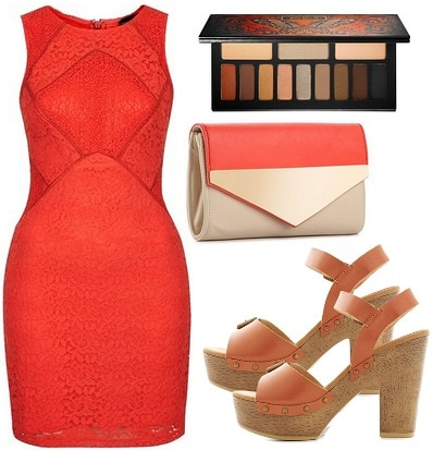 Sia Fire Meet Gasoline outfit with red dress, platform sandals, colorblocked clutch