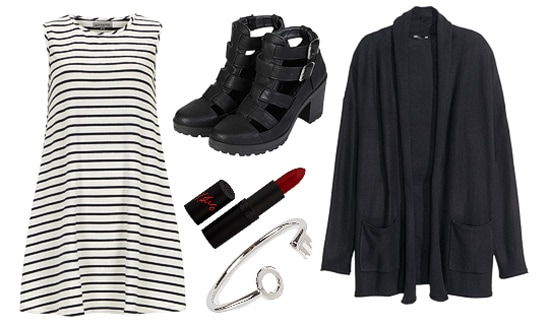 Sia Hostage outfit with striped dress, cardigan, cut-out boots