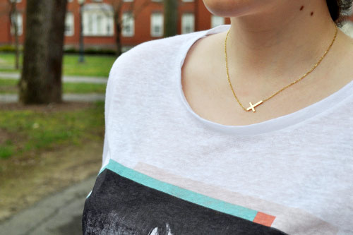 College trend at Bucknell University: Sideways cross necklace
