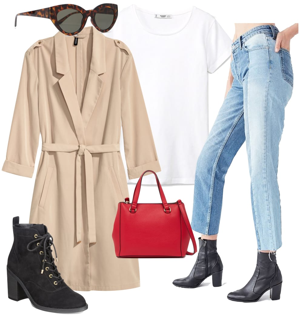 Sienna Miller Outfit: beige long trench coat, white t-shirt, spliced straight leg blue jeans, black lace-up ankle booties, red top-handle satchel bag, and thick oval tortoise sunglasses