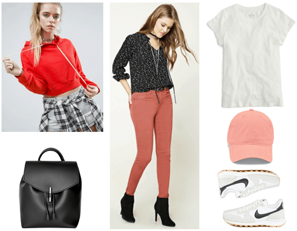 "Fashion Inspired by Music Videos: ""Don't Kill My Vibe,"" by Sigrid--Outfit #1 featuring cropped red hoodie with white drawstrings, black mini backpack with silver detail, rust-colored skinny jeans, white crewneck t-shirt, peach baseball cap, white and gray Nike sneakers with black logo"