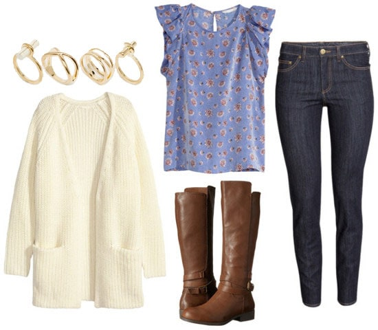 How to wear a silk blouse with riding boots, a cardigan, and skinnies