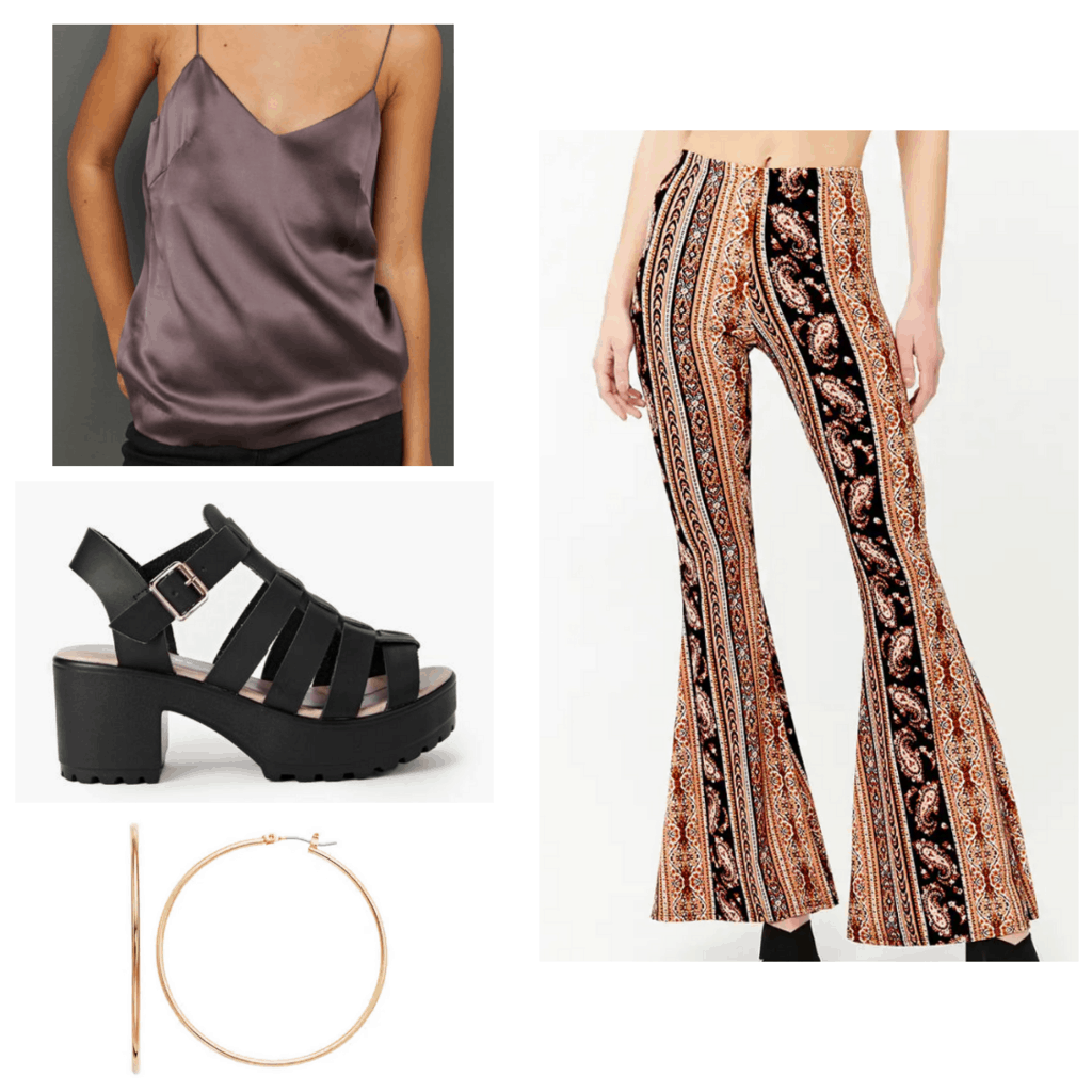 Mauve silk cami with multi-colored paisley pants, black chunky sandals, and gold hoops