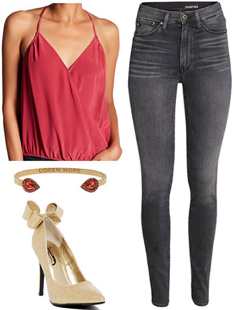 Silky top and skinny jeans outfit for New Year's Eve: Silky red top, washed black skinny jeans, gold heels, red and gold bangle