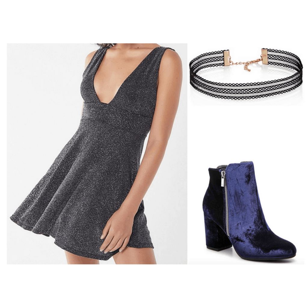 Silver sparkly dress, black choker, and blue velvet heeled boots