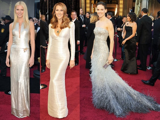 Silver dresses at the 2011 Academy Awards - Gwyneth Paltrow, Celine Dion, and Hilary Swank