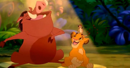 Simba with Timon and Pumba in Disney's The Lion King
