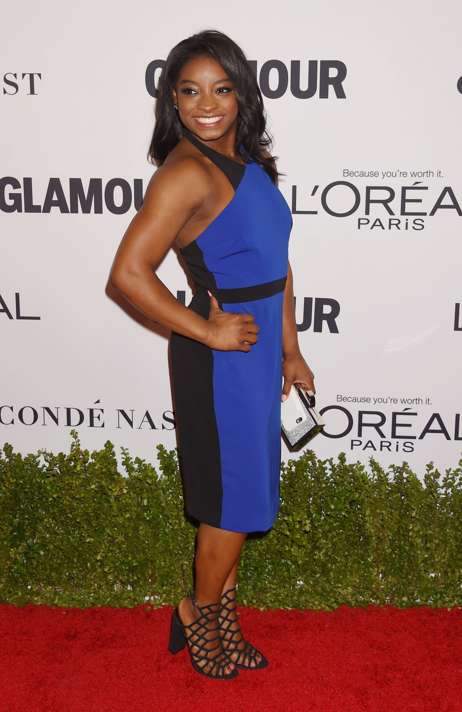 Simone Biles in a blue and black dress at the Glamour Women of the Year Awards 2016