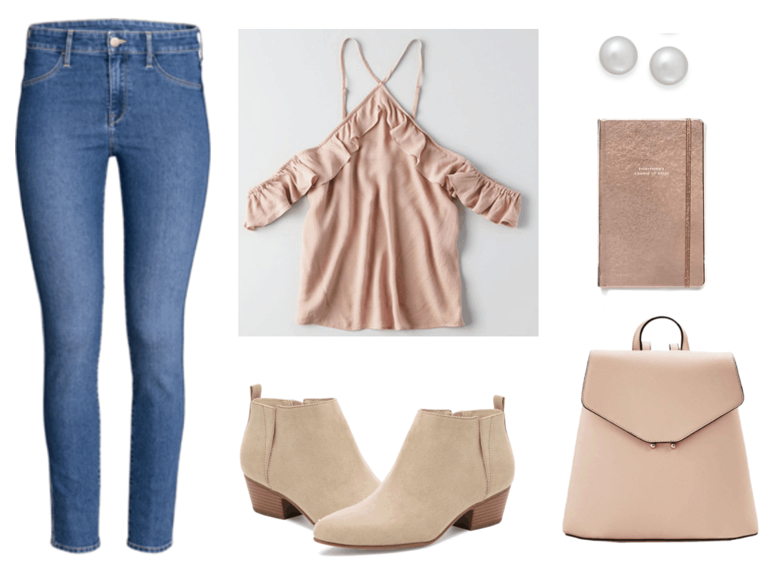 What to wear on the first day back to class outfit 3: simple & sweet outfit for college with medium wash skinny jeans, blush pink ruffle top, blush pink backpack, tan suede ankle boots, metallic notebook, pearl earrings