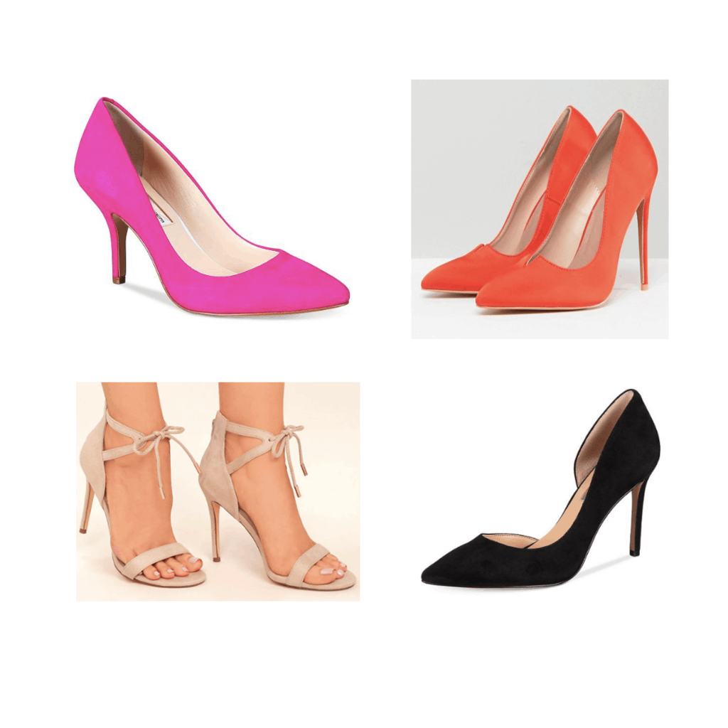 set of neutral and colorful heels