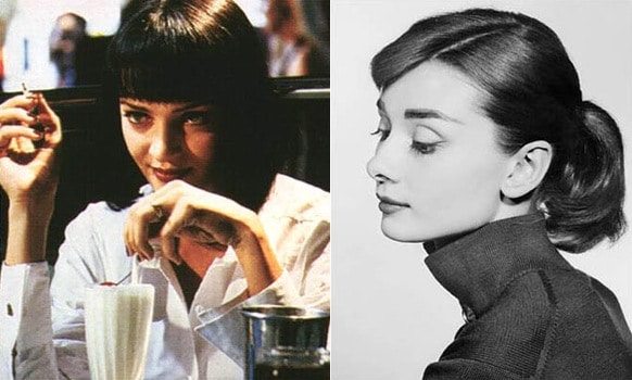 Simple outfits - Uma Thurman in Pulp Fiction and Audrey Hepburn wearing a black top