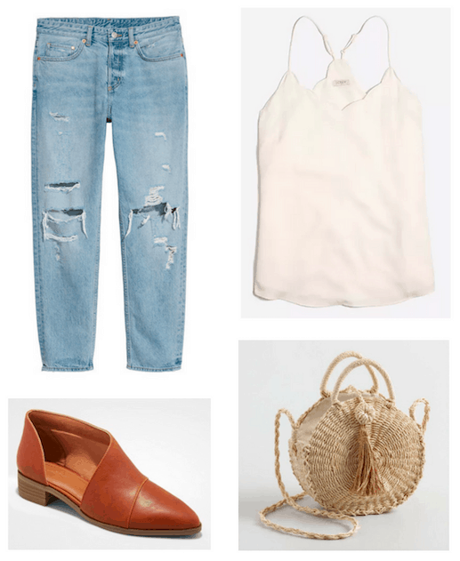 Photo set including a pair of ripped boyfriend jeans, a white scalloped tank, cognac colored shoes, and a woven crossbody bag.