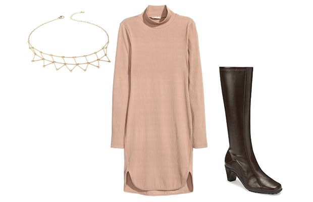 Simple sweaterdress with boots outfit