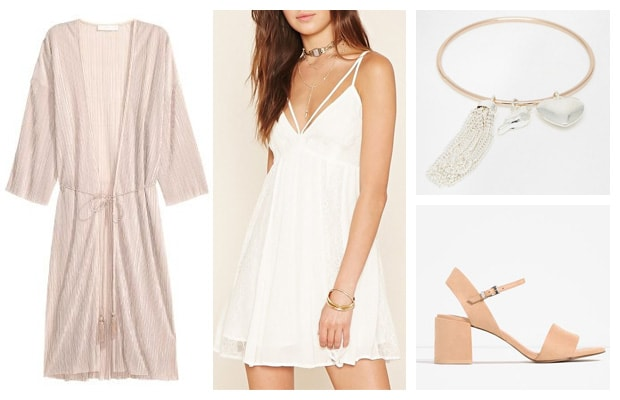 Simple white and peach kimono dress spring outfit