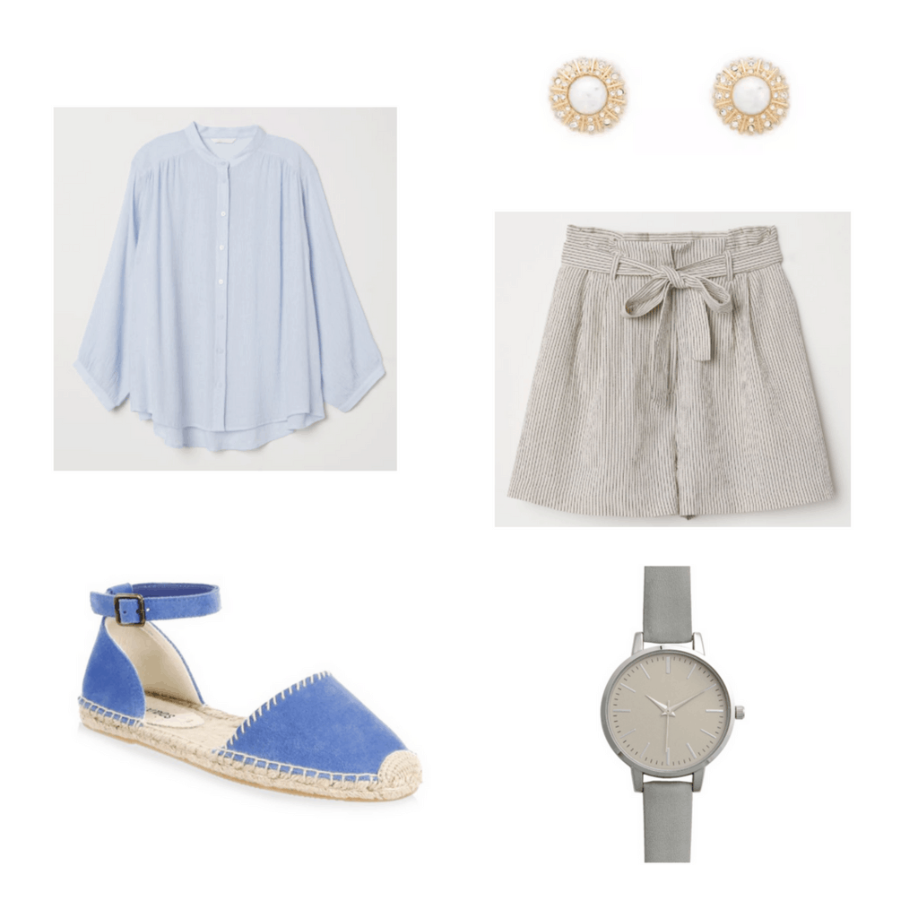blue blouse, earrings, blue shoes, striped shorts, grey watches