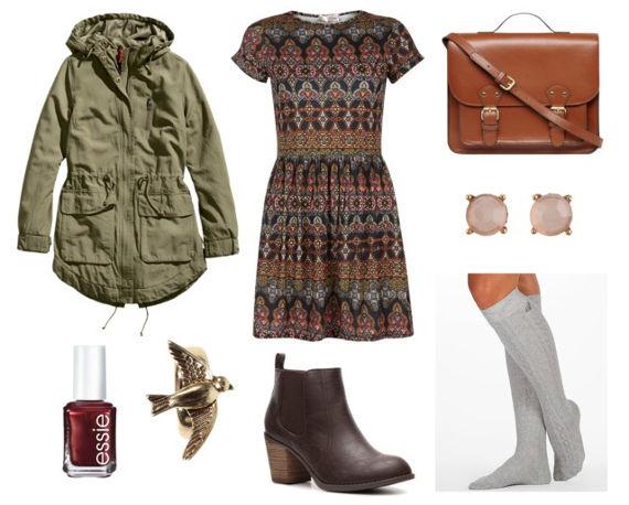 Skater dress anorak brown booties