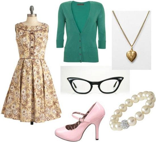 Fashion inspired by Skeeter Phelan from The Help: Floral dress, green cardigan, cat eye glasses, mary-jane heels, locket, pearl bracelet