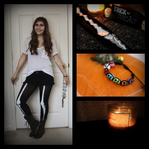 Skeleton leggings white tee halloween candle skull bracelet collage