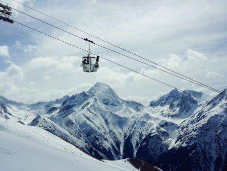 Ski mountain and gondola