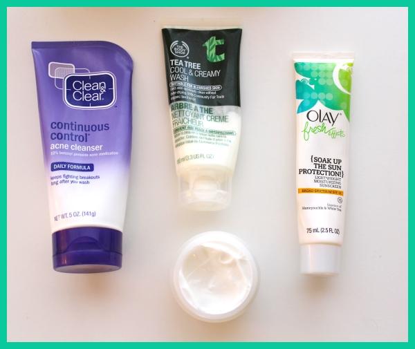 Skincare-2014-Favorites-Clean-Clear-Acne-Cleanser-Tea-Tree-Wash-Olay-Soak-up-the-sun-moisturizer