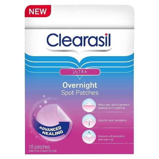 overnight acne fighting patches from clearasil, found at target
